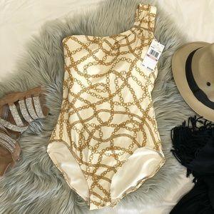 MICHAEL KORS Swimsuit Gold One Shoulder size 10
